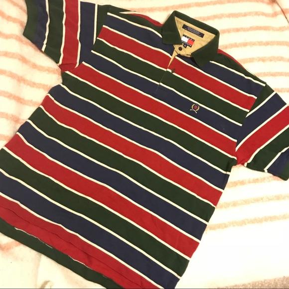 92a1a3776b Tommy Hilfiger Shirts | Vintage Multicolor Striped 90s Polo | Poshmark